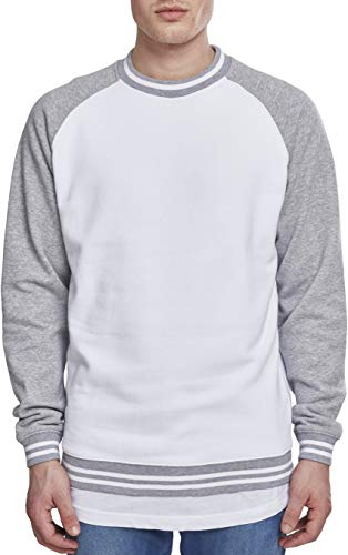Urban Classics Herren Contrast College Crew Sweatshirt, Mehrfarbig (Wht/Gry 00230), M -