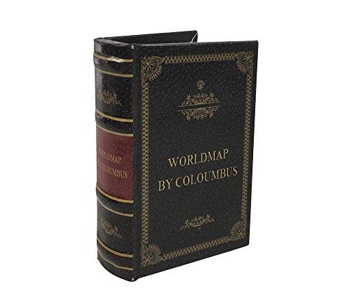 zeitzone Hohles Buch Geheimfach WORLDMAP BY COLUMBUS Buchversteck Antik-Stil 15cm