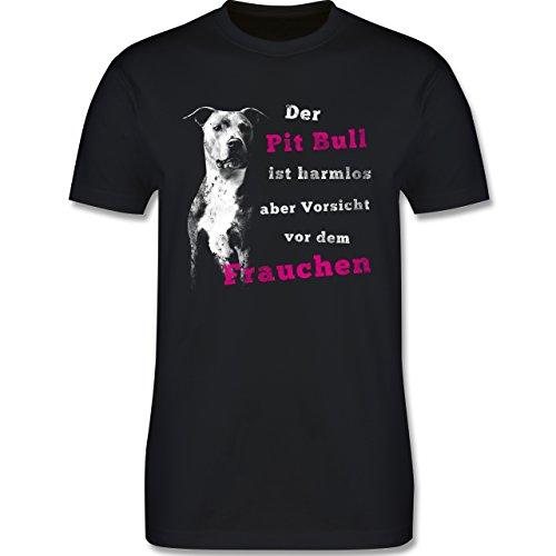 Hunde - Der Pit Bull ist harmlos aber Vorsicht vor dem Frauchen - Herren Premium T-Shirt Schwarz