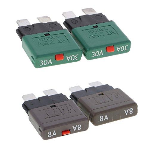 Mini Circuit Breaker (Dolity 28V Automatik Mini Circuit Breaker Blade Sicherungen Aftermarket-teil, Oberflächenmontage Leistungsschalter - Amere Auswählen - als Bild - 8A + 30A)