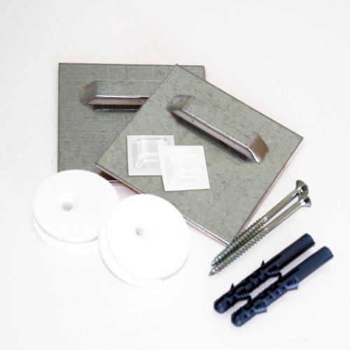 Preisvergleich Produktbild Klebebleche (2 Stk.) inkl. Ausgleichs-Excenter und Montageset, selbstklebend 7cm x 7 cm | Spiegelaufhänger , Aufhängeblech , geeignet für Spiegel, Hartschaum-Platten und Alu-Verbundplatten