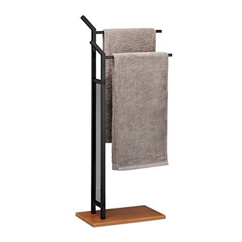 Relaxdays Handtuchst/änder CURVY mit 3 Handtuchstangen HxBxT ca silber 85 x 66 x 20 cm frei stehender Handtuchhalter aus Metall in Edelstahl-Optik als kleiner Herrendiener oder Kleiderst/änder im Bad