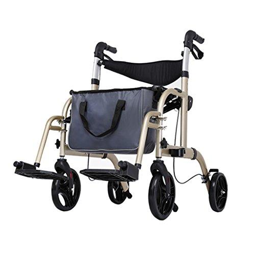 Bariatric Faltbare Rollstuhl (Leichter faltbarer erwachsener Senior-Rollen-gehender Fram-Hilfe 4 Rad | Aluminiumlegierung | mit Sitz, Feststellbremsen, Pedale, Aufbewahrungsbeutel | Höhenverstellbar 85-97cm)