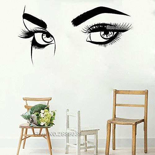 Schöne Vinylwandabziehbilder-Augenbrauenaugenmädchenfrauenwimpernmake-upwandaufkleber-Schönheitssalon-Shop-Trick-Tapete