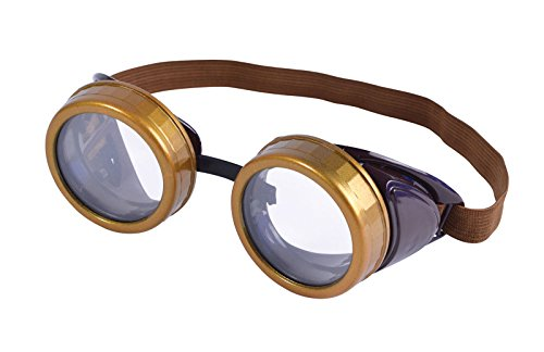 GCC Fashion Store Brown Steampunk Round Circular Goggles Glasses Retro Gaga Mad Professor Fancy Dress