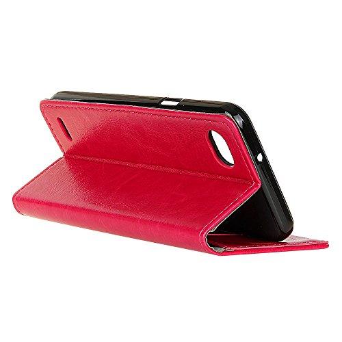 Crytal Grain Texture Solid Color Premium PU Leder Folio Stand Case Geldbörse Tasche Tasche mit Kartensteckplätzen für LG Q6 ( Color : White ) Rose