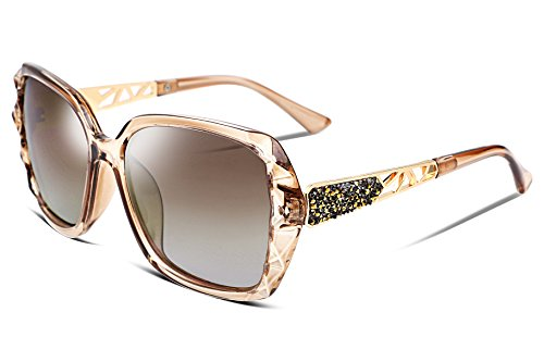 FEISEDY Übergroßes Sonnenbrillen für Frauen Polarized UV Protection Fashion Sparkling Composite Frame B2289 -