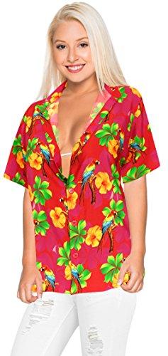La Leela Blusen Taste Nach Unten Entspannt Hawaiihemd Frauen Urlaub Kurze Ärmel Rosa l (Unten Shirt Damen Taste Nach)