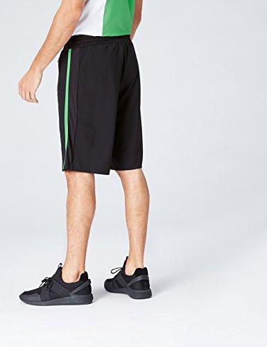 FIND Sportshorts Herren mit Mesh-Einsätzen und Streifen Schwarz (Black/Apple Green)
