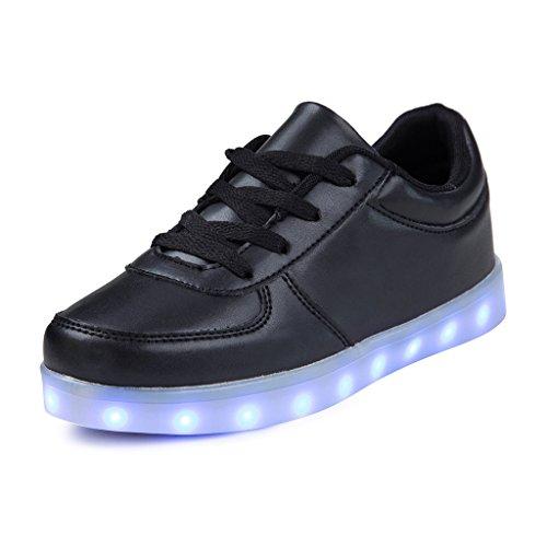 SAGUARO Jungen Mädchen Turnschuhe USB Lade Flashing Schuhe Kinder LED Leuchtende Schuhe mit Farbigen Schnürsenkel