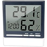 BESTOMZ Termómetro Higrómetro Digital con Pantalla LCD Reloj Medidor Temperatura y Humedad