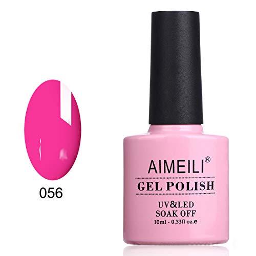 AIMEILI Soak Off UV LED Smalto Semipermanente per Manicure Smalti per Unghie in Gel Fluo - Neon Peachy Pink (056) 10ml