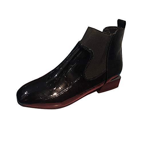 ODJOY-FAN Frau Stiefel, Quadratischer Kopf Dicker Absatz Shoes Lackleder Schuhe Satz Füße Booties England Wind Kurze Röhre Martin Stiefel Beiläufig Leder Martin Schuhe (Schwarz,39)
