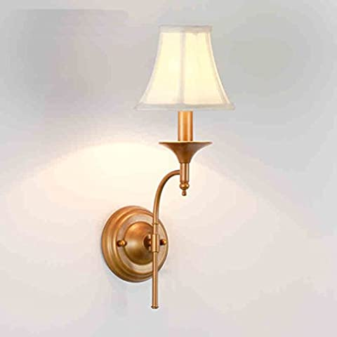 DLewiee Creative American Country Wrought Iron Elegant Off-White Linen Lampshade Wall Mediterranean Balcony Lamp Lighting Lamps Living Room Lights Restaurant Lights Stairs Bedroom Wall