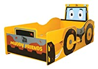 Kidsaw JCB Muddy Friends Junior Bed, Wood, Yellow, 148 x 79 x 60 cm