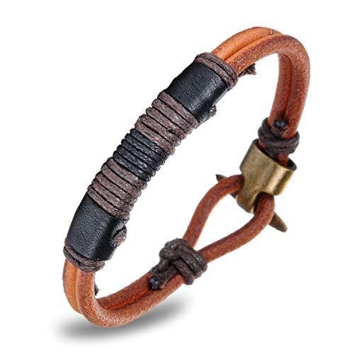 Im Alter Von Bronze-kreuz (N·XHXL Herren Lederarmband, Vintage Ethnischen Stil Handgefertigte Geflochtene Armband, Mode Armreif Bronze Legierung Schnalle, Kettenlänge 8,66 Zoll)