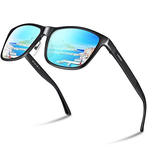 f172de1ea47 Paerde Unisex Retro Al-Mg Metal Frame Polarized Sunglasses For Men Women ( Black FrameBlue