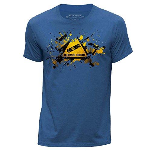 STUFF4 Herren/Klein (S)/Königsblau/Rundhals T-Shirt/Splat/Gefahr/Atomar Bombe (Print T-shirt Bomben)