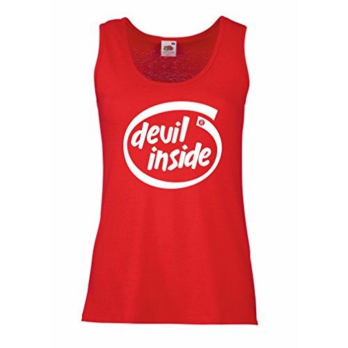 Camisetas sin Mangas para Mujer Devil Inside: Regalo Genial para el Jugador, Lema Divertido, Material de Juego (Large Rojo Blanco)