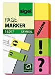 Sigel HN635 Marque-pages adésifs en papier, 160 feuilles de 5 x 2 cm, 4 couleurs et 4 symboles