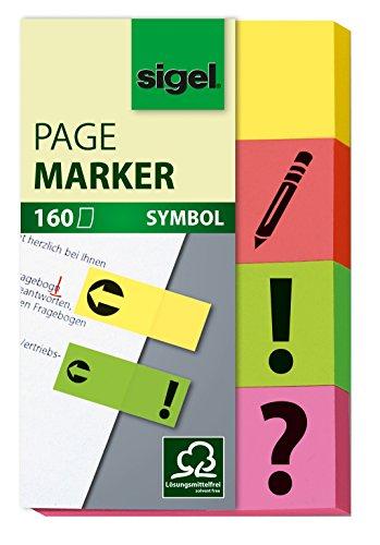 Sigel HN635 Segnapagina adesivi, rimovibili, Symbol, / ! /firma/freccia, 4 colori a blocchetto, 50x20 mm, 160 fg.