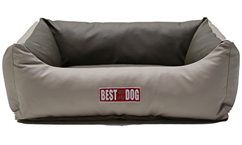 Hundekissen, Hundebett, Hundesofa, Hundekorb, Kunstleder (Beige/Cappuccino, XS - 70x55x25cm Liegefläche : 40x30cm)