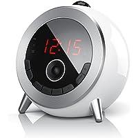 Brandson - Despertador con Radio FM Retro/Despertador-proyector/Radio con Reloj/Despertador Digital | Proyección de la Hora | Radio FM | Elegante diseño Redondo | Giratorio 180 ° | Blanco