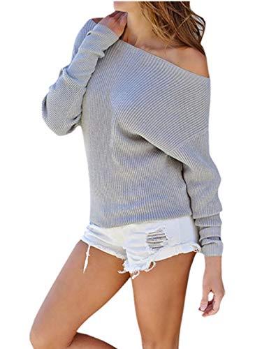 Oberteile Damen Sexy Sonnena Rundhals Schulterfrei Party Top Bluse Frauen Slim Fit Langarm T-Shirt Casual Schöne Gestrickt Oberteile Elegante Freizeit Stricke Tanktops