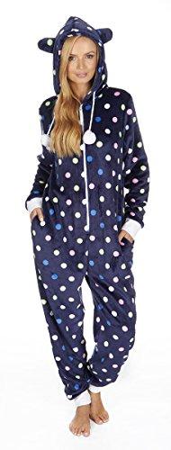 Womens-Kigurumi-Onesie-Warm-Fluffy-Fleece-Hooded-Polka-Jumpsuit-Sleepwear-NEW-UK