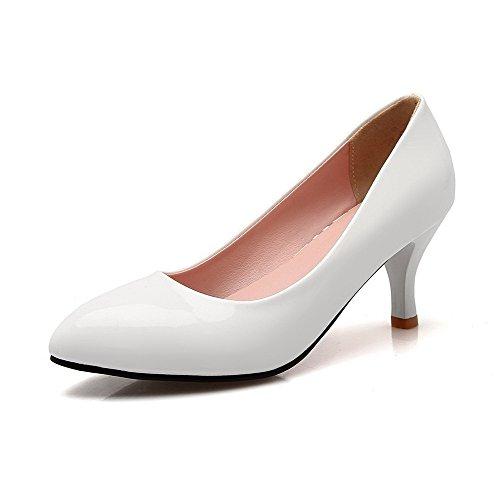 Correct Verni Blanc Légeres Talon Pointu Tire Unie à AgooLar Femme Couleur Chaussures xw6Ftq1U0