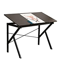 DlandHome 120 * 60 cm Drawing Desk Tiltable Tabletop Drawing Board Table Art Craft Drafting Easel Desk Home Office Study Desk, Black