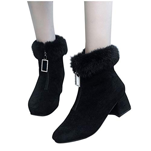 DNOQNFrauen Stiefeletten Stiefel Boots Mode Pure Farbe Runder Zeh Reißverschluss Stiefel Quadratische Fersen Jahrgang Frauen Stiefel Schwarz 41