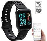 Newgen Medicals Sportuhr: Fitness-Uhr SW-320.hr mit Herzfrequenz-Anzeige, Bluetooth, IP68 (Smartwatches)
