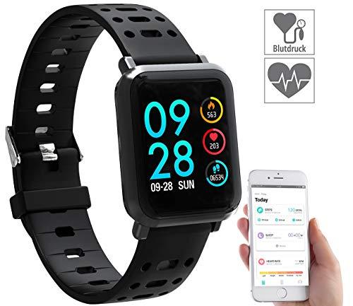 newgen medicals Puls-Uhr: Fitness-Uhr SW-320.hr mit Herzfrequenz-Anzeige, Bluetooth, IP68 (Fitnessuhr mit Blutdruckmesser)