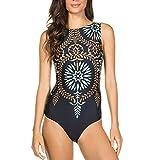 MAYOGO Frauen Bademode Beachwear Jumpsuit Monokini Bikini Sets mit Elegant Drucken,Damen Sommer Eng Badeanzug Overall Swimsuit Swimwear Tankinis Serie2-28