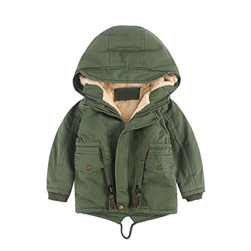Babykleidung Honestyi Baby Kinderjungen Winter Baumwollmit Kapuze Mantel Jacken Starker Warmer Reißverschluss Outwear Kleidung (Grün,90 100 110 120/3-4 4-5 5-6 7-8)
