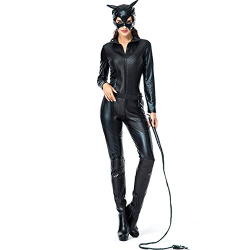 Shihong-G Frauen-Faux-Schwarz-Leder-Katzen-Bodysuit-Halloween-Cosplay-Overall-dunkler Ritter steigt erwachsenes Catwoman-Kostüm