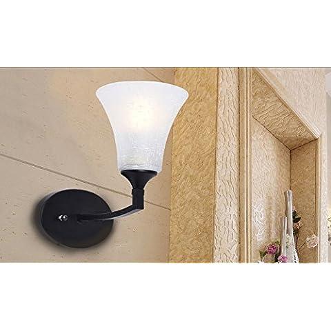 CLG-FLY Turno americana camera da letto corridoio balcone retrò nuovo semplice lampada da comodino lampada da parete lampada da parete illuminazione creativa,Singolo: 24 * 26cm
