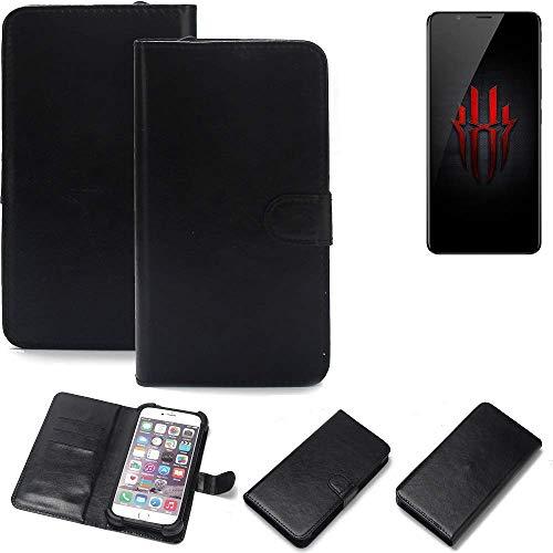 K-S-Trade 360° Wallet Case Handyhülle für Nubia Red Magic Schutz Hülle Smartphone Flip Cover Flipstyle Tasche Schutzhülle Flipcover Slim Bumper schwarz, 1x