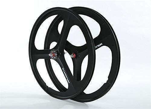 FidgetGear Black Matte 700c Tri Spoke Fixed Gear Single Speed Fahrrad Mag Wheel Set, Rear Wheel (Mag Wheels Fahrrad)