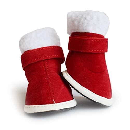 Kostüm Reparatur Mann - AMURAO 4 Teile/Satz Weihnachten Winter Rot Haustier Schuhe Warme Welpen Chihuahua Stiefel Verstellbare Träger Kleine Hundeschuhe