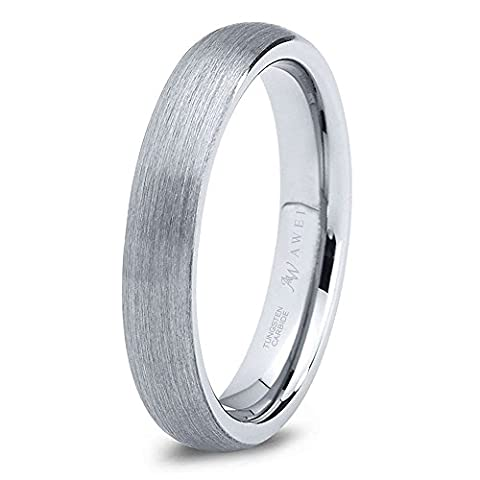 SWEETV Unisex 4mm Tungsten Rings Dome Matte/Brushed Comfort Fit Wedding Band for Men and Women, Size