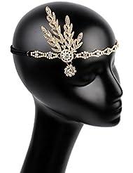 frcolor Damen Haarband Vintage 20er Flapper Great Gatsby (Gold)