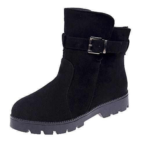 MYMYG Damen Schneestiefel Frauen Flache Schuhe Schneeschuhe Wildleder Schnalle Stiefel Runde Zehe Warm Schuhe Ankle Boots Chelsea Freizeitschuhe
