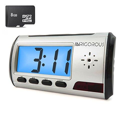 INRIGOROUS 8GB beweglicher Wecker Spion-Kamera Versteckte Kamera DVR Motion-Detection-Fernbedienung mit 8GB Speicherkarte