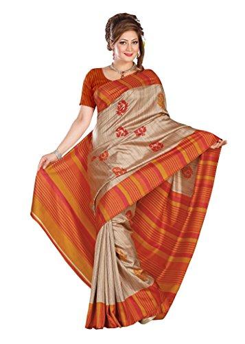 Kavvya Fashion Beige and Orange Printed Pure Mysore Silk Saree