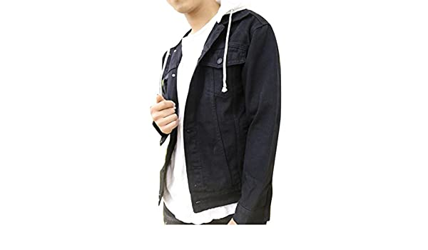 Suncolor8 Men Men's Distressed Removable Hood Washed Denim