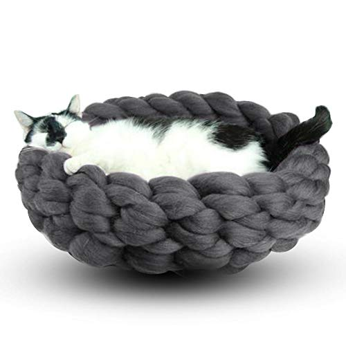 332PageAnn Katzenbett Katzenhöhle Schlafsack Katze Wolle Warm Kuschelhöhle Für Kleine Hunde & Katzen Waschbare Gestrickt Grau M