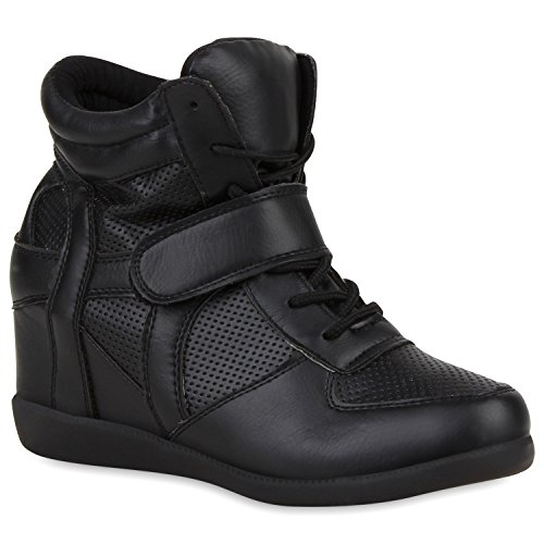 Damen Sneaker-Wedges Metallic Sneakers Keilabsatz Turnschuhe Schwarz
