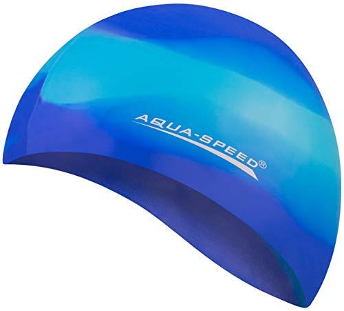 Aqua Speed® Set - BUNT Badekappe + Kleines Mikrofaser Handtuch | Silikon | Bademütze | Badehaube | Schwimmhaube | Erwachsene | Damen | Herren | Kinder, Kappen Designs:62. Bunt / 83